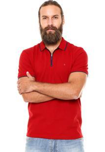 Camisa Polo Aramis Regular Fit Zíper Vermelha