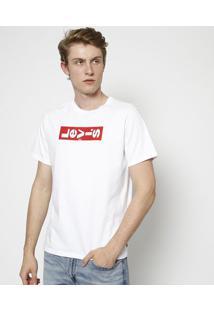 """Camiseta """"Levi'Sâ®"""" Em Relevo - Branca & Vermelhalevis"""