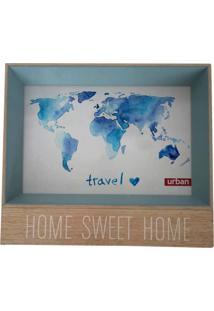 Porta Retrato Urban Home Azul Para 1 Foto Squared