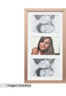 Painel Insta Para 3 Fotos- Bronze & Branco- 38X21X1,Kapos
