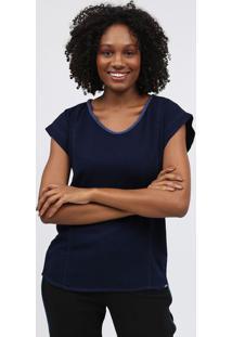 Blusa Decote Arredondado - Azul Marinhoscalon