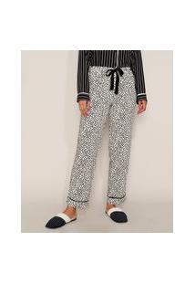 Calça De Pijama Feminina Estampada De Poá Com Vivo Contrastante E Laço Branca