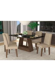Conjunto De Mesa De Jantar Retangular Alana Com Vidro E 6 Cadeiras Milena Suede Bege E Preto