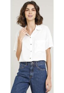 Camisa Feminina Com Bolso Manga Curta Off White