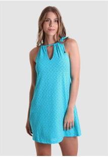 Vestido Praaiah Decote Gota Amor De Verão Feminino - Feminino-Azul Claro