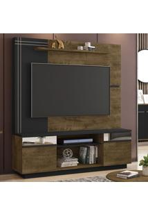 Estante Para Tv Até 60 Polegadas Aruba 2 Portas Com Espelho Madeira Rústica/Preto Fosco - Móveis Bechara