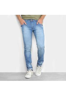 Calça Jeans Skinny Coffee Estonada Masculina - Masculino-Azul Claro