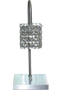 Abajur De Cristal Com 80 Pedras De Cristal Em Aluminio Escovado