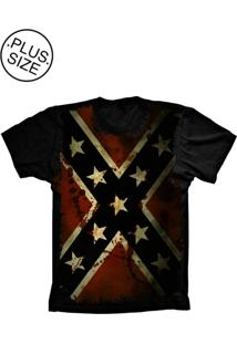 Camiseta Lu Geek Plus Size Flag Confederados Preto