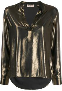 Blanca Blusa Decote Em V - Dourado