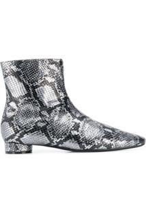 Balenciaga Ankle Boot Com Efeito Pele De Cobra - Prateado