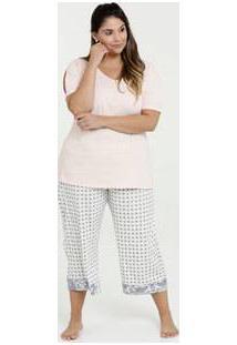 Pijama Feminino Estampado Plus Size Manga Curta Marisa