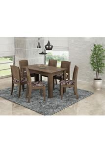 Sala De Jantar C/ Mesa E 6 Cadeiras Barbara Marrocos/Floral Bordo