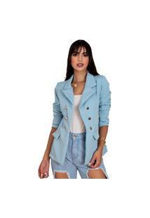 Blazer Feminino Botões Dourados Estilo Balmain Top Qualidade Acinturado Moderna Azul