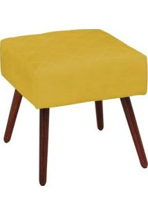 Puff Decorativo Silmara Pés Palito Amarelo - Condor Decor