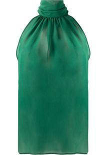 Jejia Blusa Frente Única Translúcida De Seda - Verde