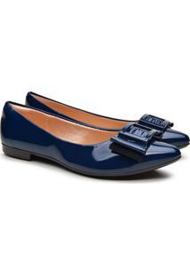 Sapatilha Feminina Verniz Bico Fino Laço Fashion Conforto Azul 34 Azul