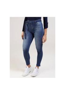 Calça Jeans Com Amarração Pisom Feminina Azul
