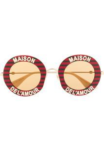 Gucci Eyewear Óculos De Sol Redondo 'Maison De L'Amour' - Vermelho