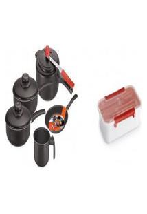Kit Conjunto De Panelas 5 Peças + Pote Plástico Marmita