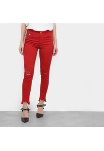 Calça Sarja Skinny Colcci Bia Cintura Média Feminina - Feminino-Vermelho