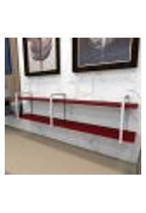 Aparador Industrial Aço Cor Branco 180X30X40Cm (C)X(L)X(A) Cor Mdf Vermelho Modelo Ind39Vrapr