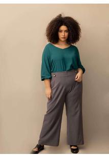 Calça Alfaiataria Pantalona Plus Size Grafite-Gg C