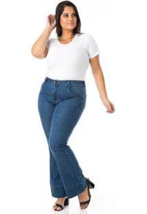 Calça Jeans Confidencial Extra Plus Size Flare Feminina - Feminino-Azul