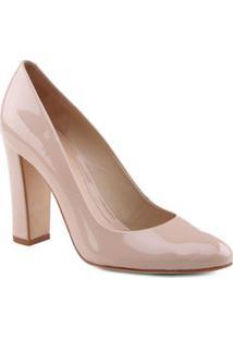 Schutz Sapato Tradicional Em Couro Envernizado Nude Salto: 9,8Cm