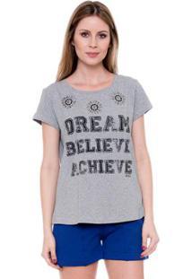 Camiseta Bisô T-Shirt Dream Feminina - Feminino-Cinza