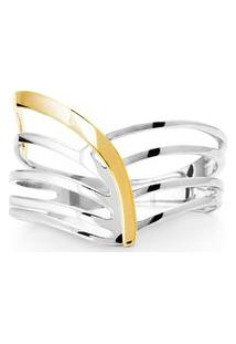 Anel Prata E Ouro Amarelo