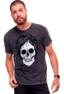 Camiseta Estonada Skull Lennon Liverpool Preto