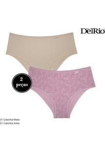Kit 2 Calcinhas Delrio Básica Feminina - Feminino-Rosa+Marrom