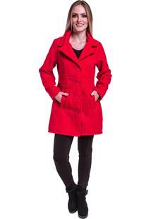 Sobretudo Jaqueta Inverno Frio Lã Batida Vermelho