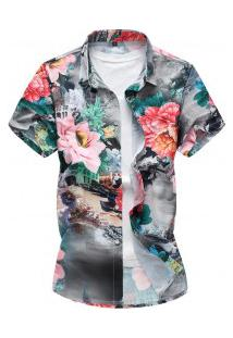 Camisa Masculina Estampa De Rosas - Verde