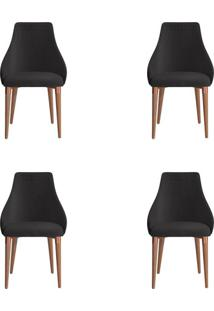 Conjunto Com 4 Cadeiras De Jantar Evelyn Preto