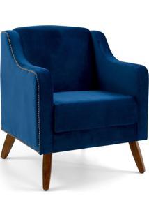 Poltrona Decorativa Sala De Estar Pés De Madeira Hana Veludo Azul - Gran Belo