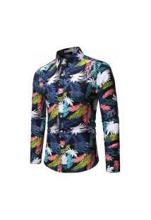 Camisa Masculina Summer Floral - Azul