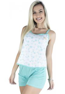 Pijama Mvb Modas Adulto Blusinha Alça Short Curto Verde