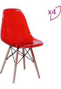 Jogo De Cadeiras Eames Dkr- Vermelho & Madeira- 4Pã§Sor Design