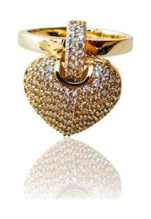 Anel Liso Coração Elo Cravejado - Feminino-Dourado