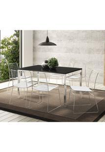 Mesa 1526 Preta Cromada Com 6 Cadeiras 1712 Branca Carraro