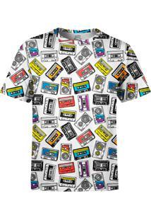 Camiseta Estampada Over Fame Fita Cassete Branca