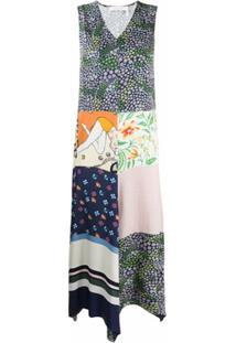 See By Chloé Vestido Summer Assimétrico Com Patchwork - Verde