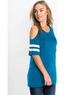 Blusa Com Ombros Vazados Azul