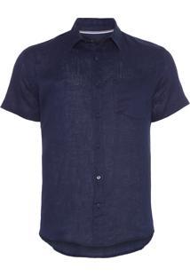 Camisa Masculina Classic Linen - Azul Marinho