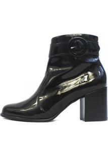Bota Damannu Shoes Hilary Verniz Feminina - Feminino-Preto