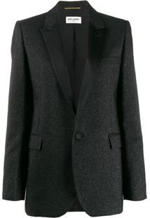 Saint Laurent Metallic Tailored Blazer - Preto