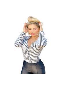 Body Camisa Feminina Listrado Com Bojo