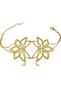 Pulseira Flor Com Corrente Entrelaçada 3Rs Semijoias Dourado